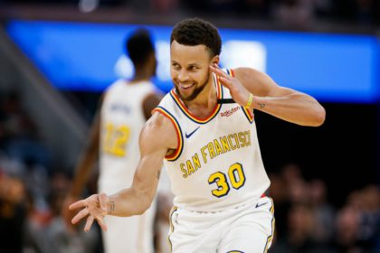 SAN FRANCISCO, CALIFORNIA - MARCH 5: Golden State Warriors' Stephen Curry (30) celebrates after scoring a three-point-shot during the third quarter of his teams game versus the Toronto Raptors at Chase Center in San Francisco on Thursday, March 5, 2020. (Randy Vazquez / Bay Area News Group)
