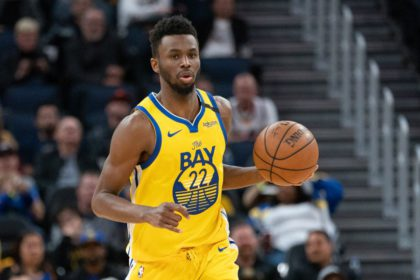 March 1, 2020; San Francisco, California, USA; Golden State Warriors guard Andrew Wiggins (22) dribbles the basketball during the fourth quarter against the Washington Wizards at Chase Center. Mandatory Credit: Kyle Terada-USA TODAY Sports