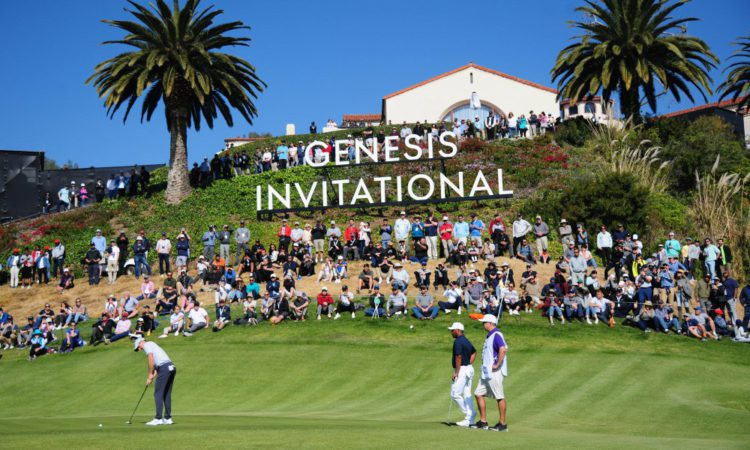 February 15, 2020; Pacific Palisades, California, USA; Rory McIlroy putts on the second hole green as Harold Varner III watches during the third round of the The Genesis Invitational golf tournament at Riviera Country Club. Mandatory Credit: Gary A. Vasquez-USA TODAY Sports