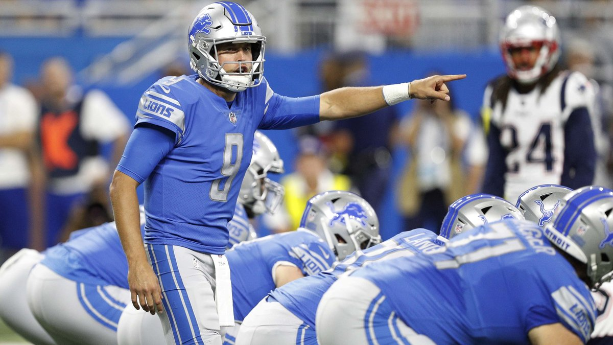 Sep 23, 2018; Detroit, MI, USA; Detroit Lions quarterback Matthew Stafford (9) points and yells out during the first quarter against the New England Patriots at Ford Field. Mandatory Credit: Raj Mehta-USA TODAY Sports