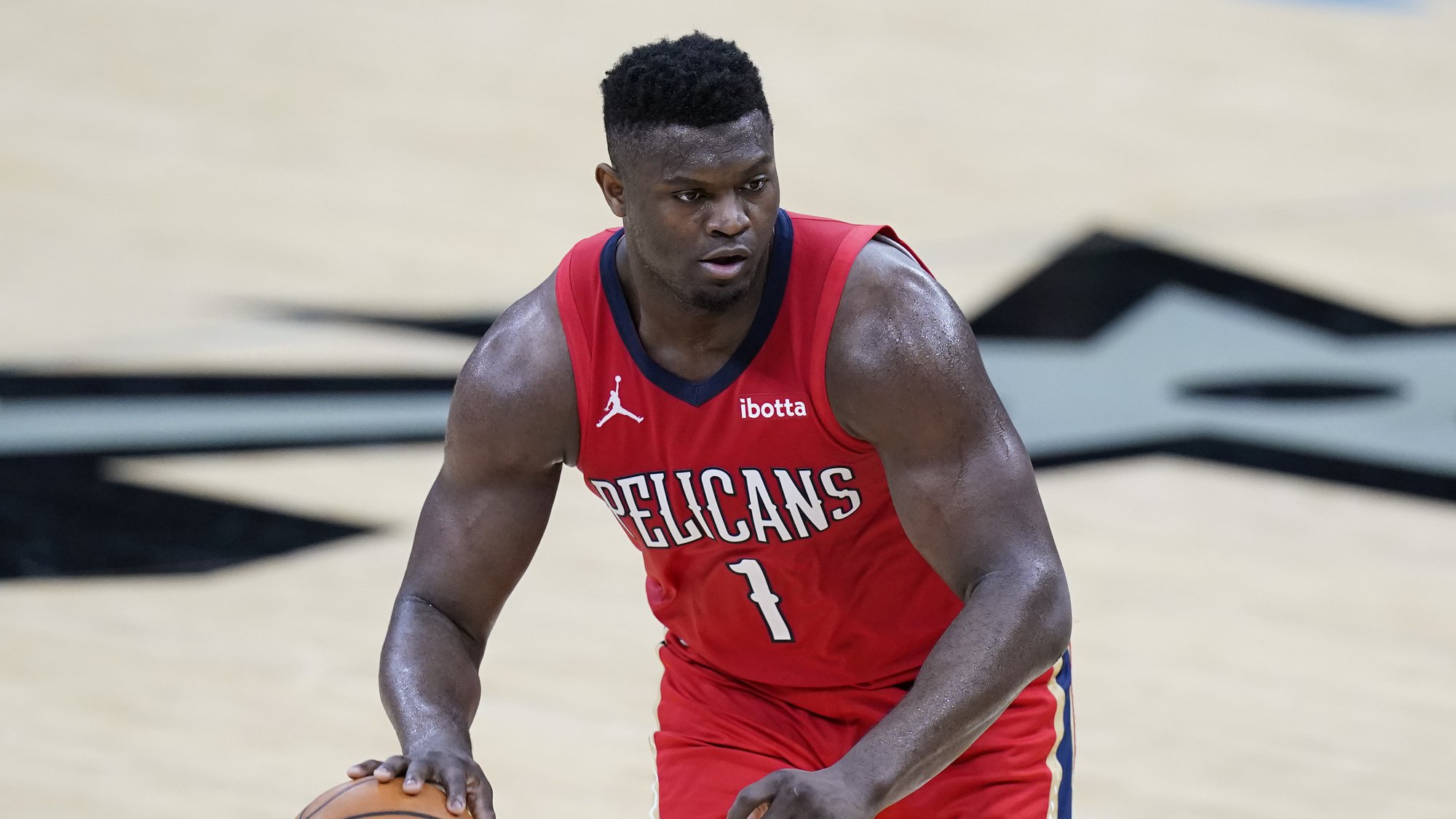 New Orleans Pelicans forward Zion Williamson (1) during the second half of an NBA basketball game against the San Antonio Spurs in San Antonio, Saturday, Feb. 27, 2021. (AP Photo/Eric Gay)