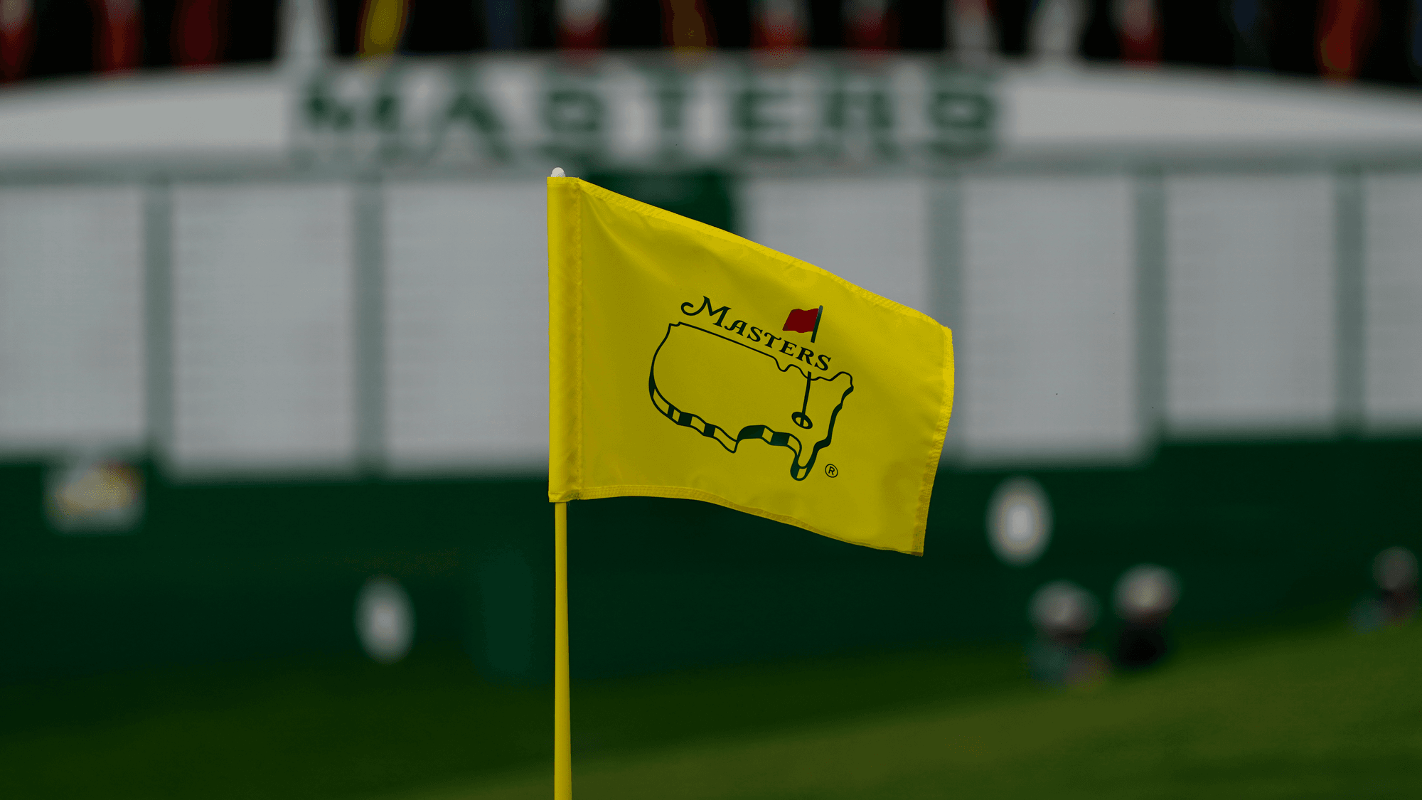 Augusta National Golf Masters flag pin on the ninth green during a practice round for the Masters golf tournament Wednesday, Nov. 11, 2020, in Augusta, Ga. (AP Photo/Matt Slocum)