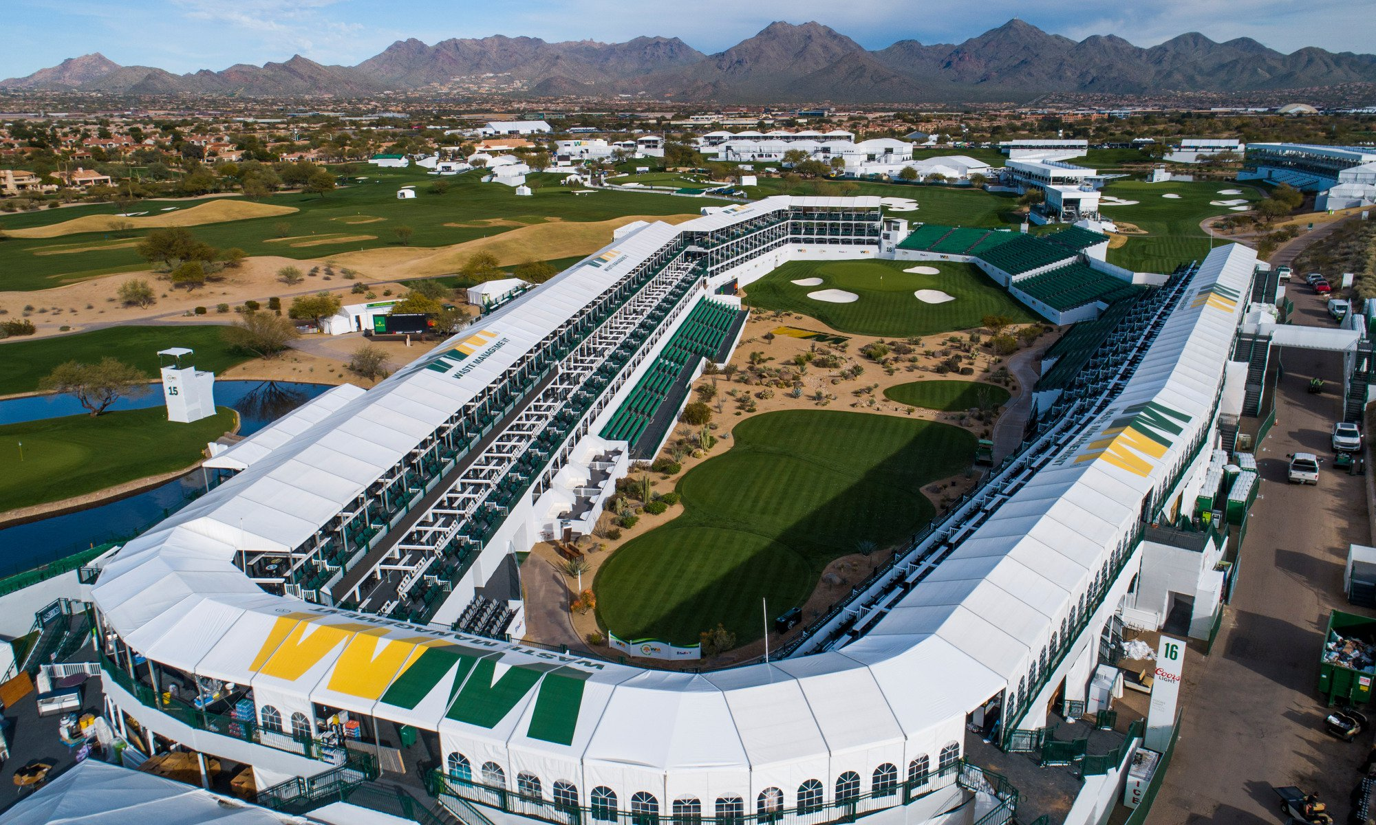 Drone aerial view of the 16th hole at the TPC of Scottsdale January 24, 2020,