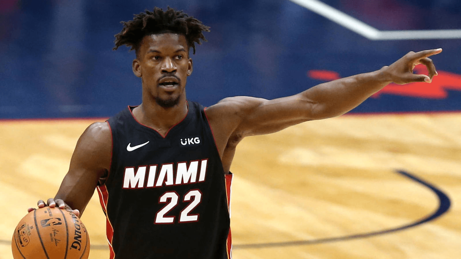Mar 4, 2021; New Orleans, Louisiana, USA; Miami Heat forward Jimmy Butler (22) gestures in the first quarter against the New Orleans Pelicans at the Smoothie King Center. Mandatory Credit: Chuck Cook-USA TODAY Sports