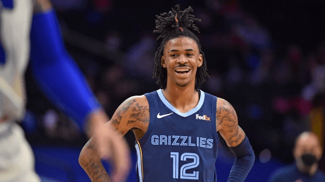 PHILADELPHIA, PA – APRIL 4: Ja Morant #12 of the Memphis Grizzlies smiles during a game against the Philadelphia 76ers on April 4, 2021 at Wells Fargo Center in Philadelphia, Pennsylvania. NOTE TO USER: User expressly acknowledges and agrees that, by downloading and/or using this Photograph, user is consenting to the terms and conditions of the Getty Images License Agreement. Mandatory Copyright Notice: Copyright 2021 NBAE   Jesse D. Garrabrant/NBAE via Getty Images/AFP (Photo by Jesse D. Garrabrant / NBAE / Getty Images / Getty Images via AFP)